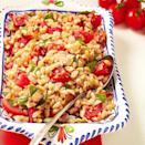 <p>We love farro, a high-fiber whole grain, because it cooks in about 15 minutes and has an amazing toothsome texture perfect for grain salads. In this healthy farro salad recipe we combine it with smoky bacon, sweet cherry tomatoes and fresh basil for an easy side dish or light lunch. Look for farro at natural-foods stores and gourmet food markets</p>