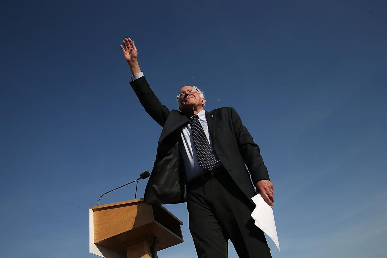 Democratic presidential candidate Sen. Bernie Sanders waves to supporters after officially announcing his candidacy for the U.S. presidency during an event at Waterfront Park on May 26, 2015 in Burlington, Vermont.