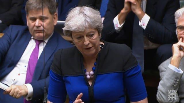 Former prime minister Theresa May speaking during the debate on the situation in Afghanistan in the House of Commons