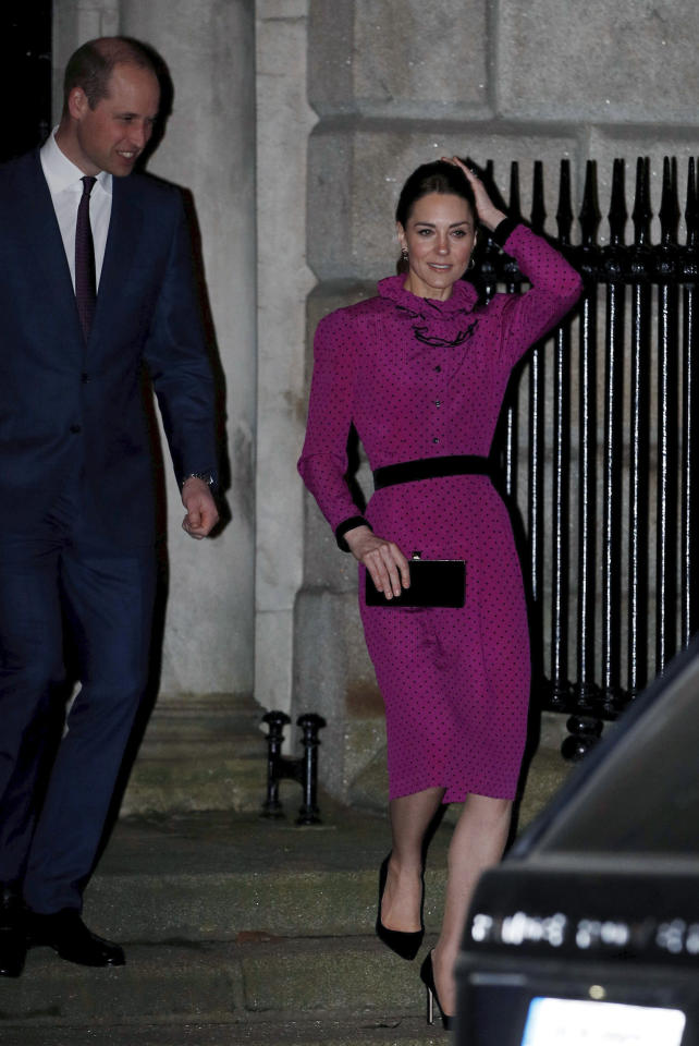 Britain's Prince William and Kate, Duchess of Cambridge leave after a reception held by Irish Tanaiste, Simon Coveney, in Dublin, Ireland, Wednesday, March 4, 2020, as part of their three-day visit to Ireland. (Phil Noble/Pool Photo via AP)