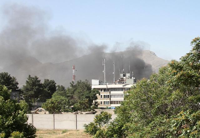 <p>Smoke rises from the site of a blast in Kabul, Afghanistan May 31, 2017. (Hamid Sayedi/Reuters) </p>