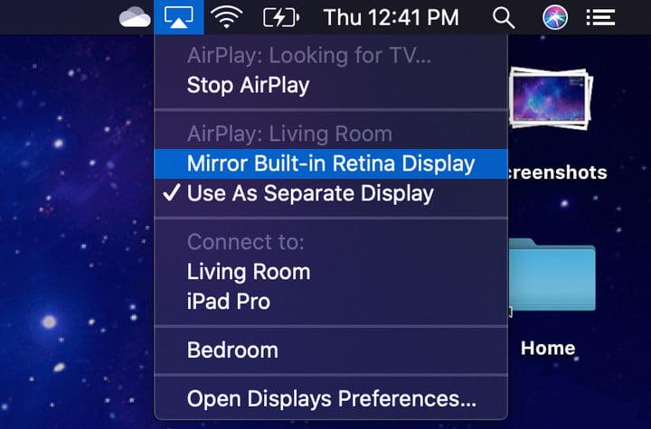 MacOS AirPlay Apple TV change Mode