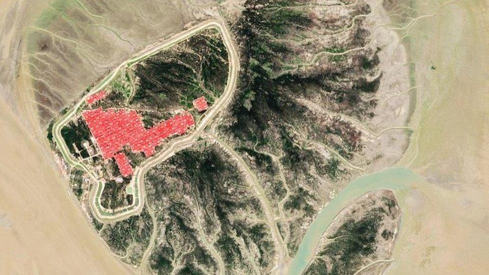 Satellite picture showing the Bhashan Char island and the housing complex in it.