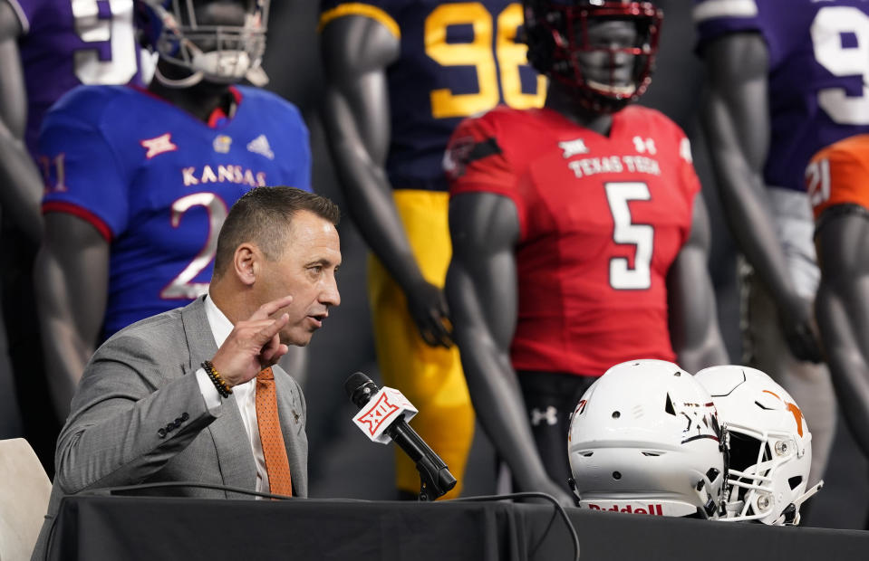 Texas head coach Steve Sarkisian wraps up his press conference during the NCAA college football Big 12 media days Thursday, July 15, 2021, in Arlington, Texas. (AP Photo/LM Otero)