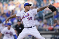 New York Mets' Taijuan Walker delivers a pitch during the first inning of the team's baseball game against the Chicago Cubs on Tuesday, June 15, 2021, in New York. (AP Photo/Frank Franklin II)