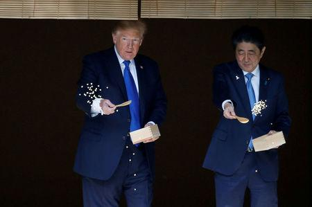 FILE PHOTO : U.S. President Donald Trump and Japan's Prime Minister Shinzo Abe feed carp before their working lunch at Akasaka Palace in Tokyo