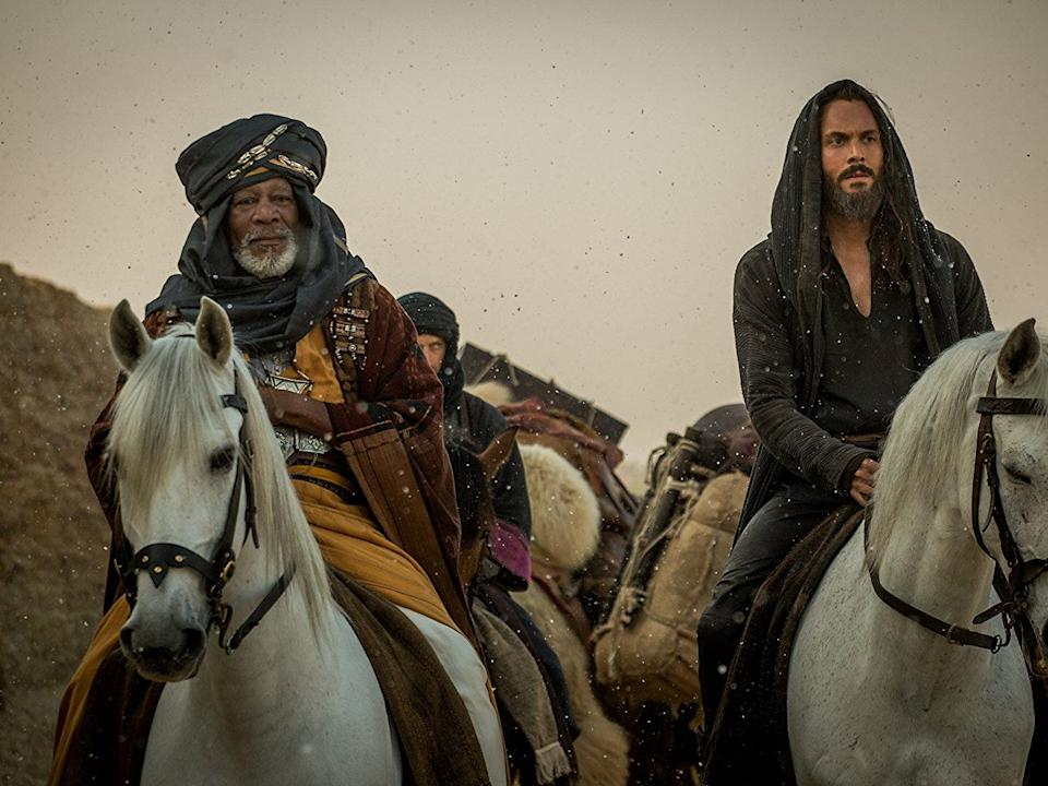Morgan Freeman and Jack Huston as Ilderim and Judah Ben-Hur.