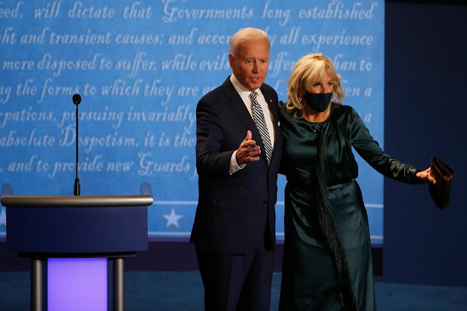 Democratic presidential candidate, former Vice President Joe Biden embraces his wife Jill Biden after the first presidential debate at the Cleveland Clinic Sept. 29, 2020.