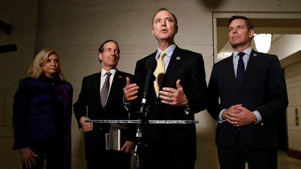 PHOTO: Rep. Adam Schiff, D-Calif., second from right, speaks with members of the media after former deputy national security adviser Charles Kupperman signaled that he would not appear as scheduled for a closed door meeting. (Patrick Semansky/AP)