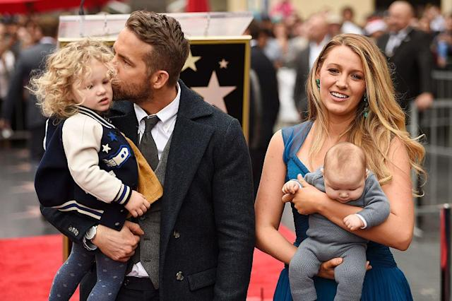 Ryan Reynolds and Blake Lively made their first public appearance with their daughters when the <em>Deadpool</em> actor received a star on the Hollywood Walk of Fame in December 2016. <span> </span>(Photo: Getty Images)
