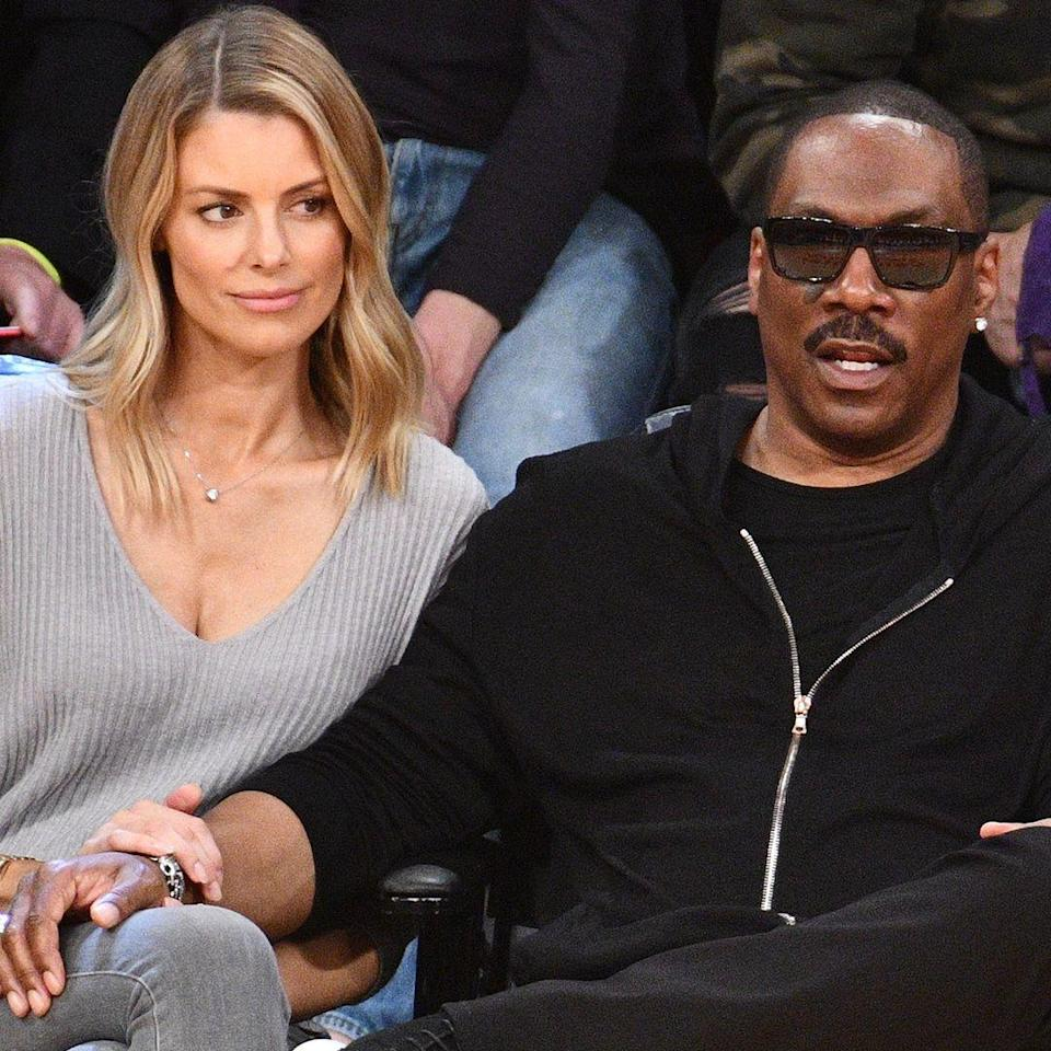 """<p><strong>Age gap: </strong>19 years</p><p>Eddie, 58, and Paige, 40, have been a couple since 2012, reports <em><a href=""""https://www.eonline.com/news/713091/eddie-murphy-will-be-a-father-for-the-ninth-time-as-his-girlfriend-paige-butcher-is-pregnant-with-her-first-child"""" rel=""""nofollow noopener"""" target=""""_blank"""" data-ylk=""""slk:E News"""" class=""""link rapid-noclick-resp"""">E News</a></em>. They've kept a pretty low profile, and in 2013, Paige opened up to <em><a href=""""https://www.vanityfair.com/news/2013/10/paige-butcher-exercise-routine"""" rel=""""nofollow noopener"""" target=""""_blank"""" data-ylk=""""slk:Vanity Fair"""" class=""""link rapid-noclick-resp"""">Vanity Fair</a></em> about why she has steered clear of social media: """"I'm in a relationship with a celebrity, so I felt like there's already enough of me out there,"""" the Australian actress said. """"I felt like I was giving out too much information. I was giving people too much access. I like to keep as much private as possible now."""" They have two children together.</p>"""
