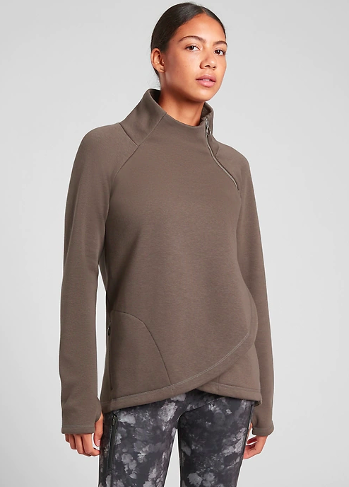 Athleta Cozy Karma Asym Pullover (Photo via Athleta)