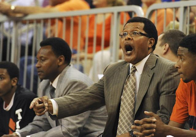 Savannah State coach Horace Broadnax shouts instructions to his team during the first half of an NCAA college basketball game against Florida in Gainesville, Fla., Sunday, Dec. 29, 2013. (AP Photo/Phil Sandlin)