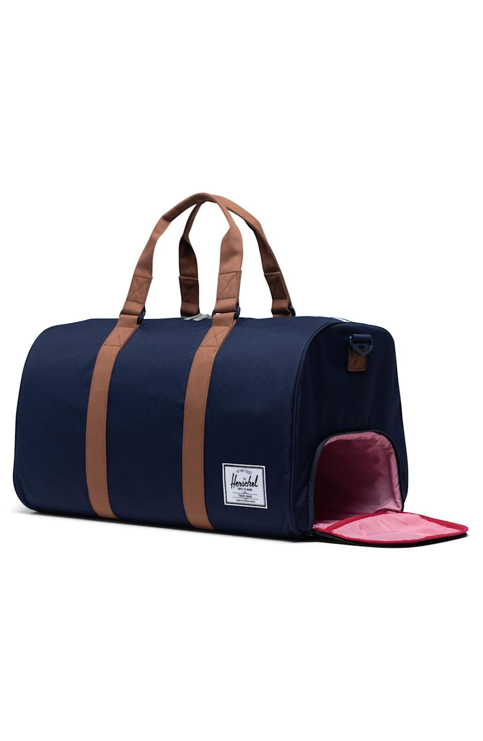 "<p><strong>HERSCHEL SUPPLY CO.</strong></p><p>nordstrom.com</p><p><strong>$90.00</strong></p><p><a href=""https://go.redirectingat.com?id=74968X1596630&url=https%3A%2F%2Fshop.nordstrom.com%2Fs%2Fherschel-supply-co-novel-duffle-bag%2F5293829&sref=https%3A%2F%2Fwww.goodhousekeeping.com%2Fholidays%2Fgift-ideas%2Fg4517%2Fgifts-for-boyfriend%2F"" rel=""nofollow noopener"" target=""_blank"" data-ylk=""slk:Shop Now"" class=""link rapid-noclick-resp"">Shop Now</a></p><p>This <a href=""https://www.goodhousekeeping.com/travel-products/luggage-reviews/g20709039/best-carry-on-luggage-reviews/"" rel=""nofollow noopener"" target=""_blank"" data-ylk=""slk:travel duffel"" class=""link rapid-noclick-resp"">travel duffel</a> comes with two carrying straps and one longer, adjustable strap so he can easily throw it over his shoulder for gym sessions or plane journeys. It even has a separate storage compartment for his smelly sneakers! </p>"