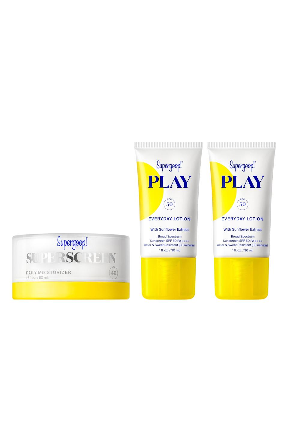 """<p><strong>Supergoop!</strong></p><p>nordstrom.com</p><p><strong>$39.00</strong></p><p><a href=""""https://go.redirectingat.com?id=74968X1596630&url=https%3A%2F%2Fwww.nordstrom.com%2Fs%2Fsupergoop-superscreen-daily-moisturizer-spf-40-sunscreen-set-58-value%2F5578332&sref=https%3A%2F%2Fwww.elle.com%2Fbeauty%2Fg36944650%2Fnorstrom-anniversary-beauty-sale-2021%2F"""" rel=""""nofollow noopener"""" target=""""_blank"""" data-ylk=""""slk:Shop Now"""" class=""""link rapid-noclick-resp"""">Shop Now</a></p><p>For the summer, do your future self a favor by investing in a ton of SPF. You might not like it now, but you'll definitely see the fun side when your friends look 60 when you still look 25.</p>"""