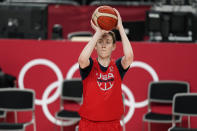United States' Breanna Stewart shoots during a women's basketball practice at the 2020 Summer Olympics, Saturday, July 24, 2021, in Saitama, Japan. (AP Photo/Charlie Neibergall)