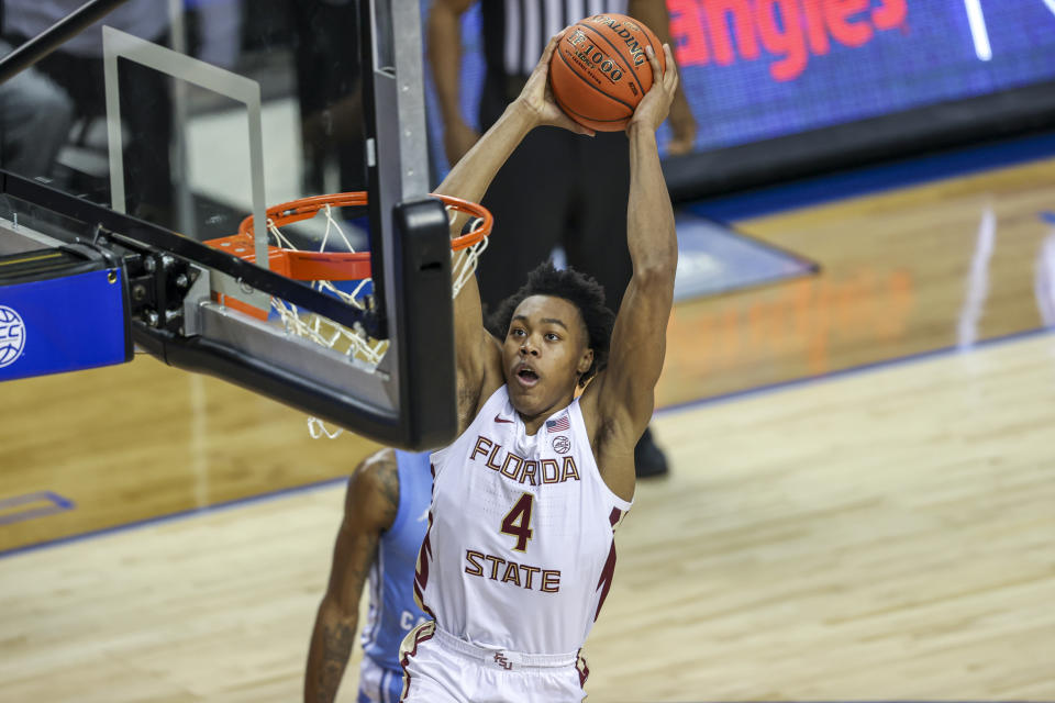 Scottie Barnes could be a steal at No. 5 in this year's NBA draft after playing one season at Florida State. (Nell Redmond/USA TODAY Sports)
