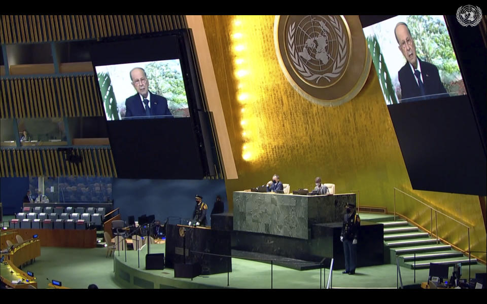 In this photo taken from video, Lebanese President Michel Aoun remotely addresses the 76th session of the United Nations General Assembly in a pre-recorded message, Friday, Sept. 24, 2021, at UN headquarters. (UN Web TV via AP)