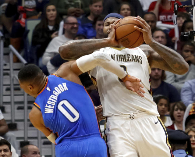 "<a class=""link rapid-noclick-resp"" href=""/nba/players/4720/"" data-ylk=""slk:DeMarcus Cousins"">DeMarcus Cousins</a> got a flagrant-2, and automatic ejection, for this elbow on <a class=""link rapid-noclick-resp"" href=""/nba/players/4390/"" data-ylk=""slk:Russell Westbrook"">Russell Westbrook</a>. (AP)"