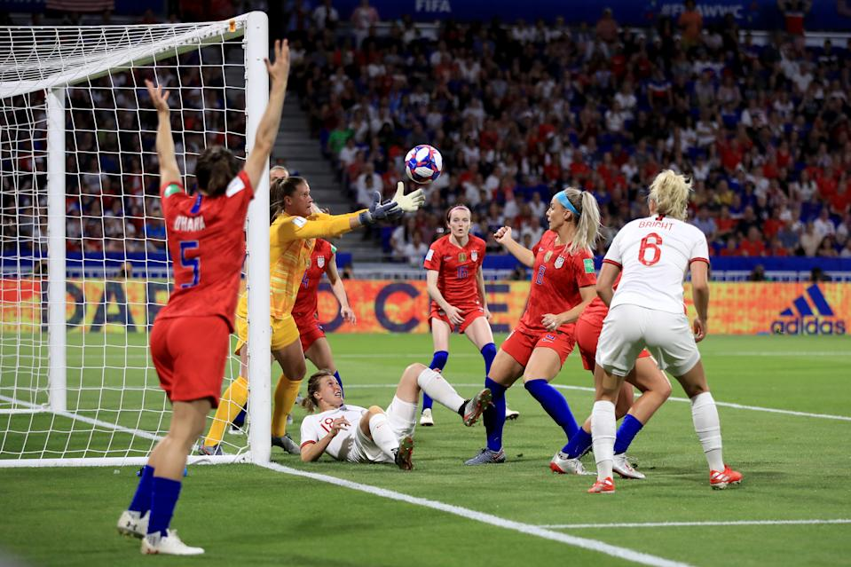 Alyssa Naeher of USA claims the ball as Ellen White of England looks on during the 2019 FIFA Women's World Cup France Semi Final match between England and USA at Stade de Lyon on July 2, 2019 in Lyon, France. (Photo by Marc Atkins/Getty Images)