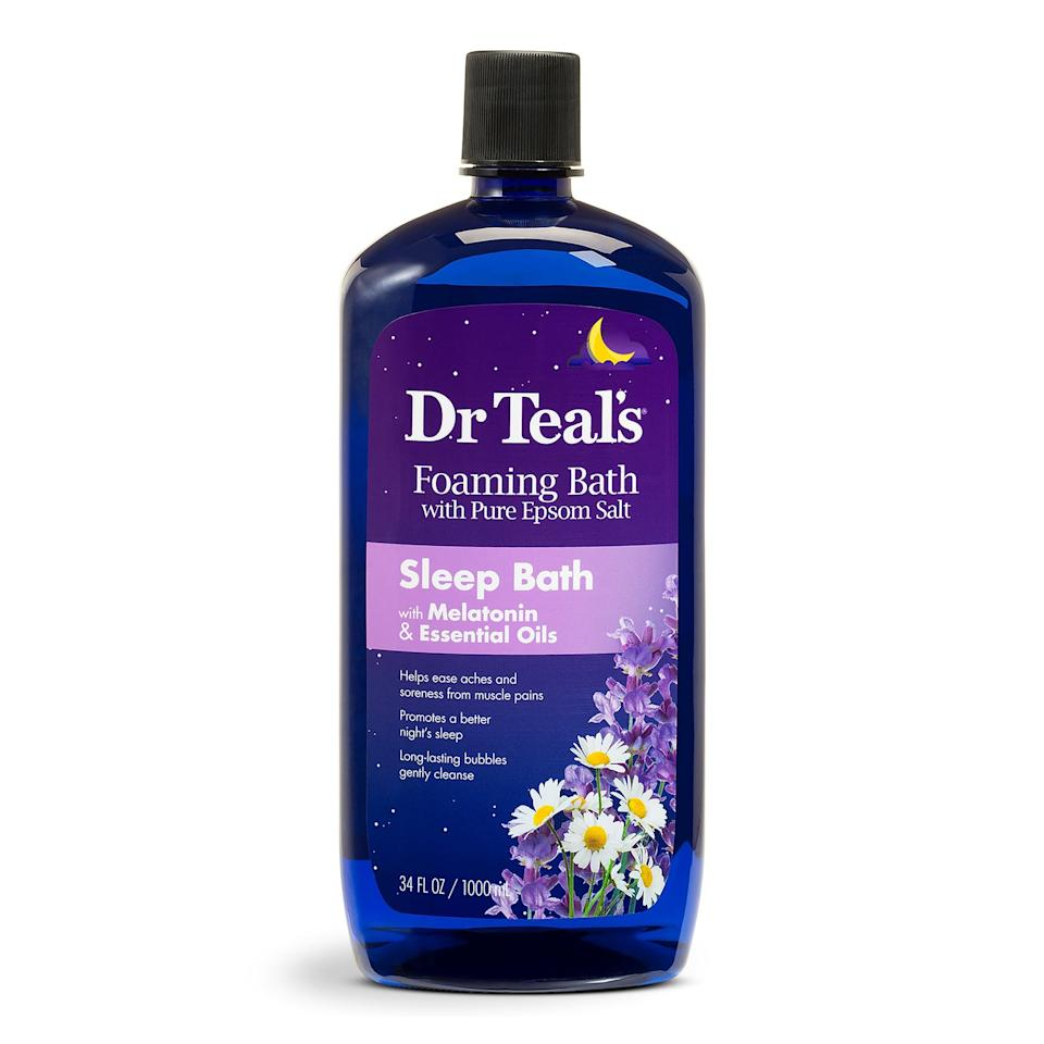 """<p>Melatonin is undoubtedly most effective when taken in supplement form, but with <span>Dr. Teal's Sleep Bath With Melatonin and Essential Oils</span> ($5), you'll also reap the benefits of Epsom salt, which can help <a href=""""https://www.popsugar.com/fitness/Epsom-Salts-Muscle-Aches-45286395"""" class=""""link rapid-noclick-resp"""" rel=""""nofollow noopener"""" target=""""_blank"""" data-ylk=""""slk:soothe tired, achy muscles"""">soothe tired, achy muscles</a>.</p>"""