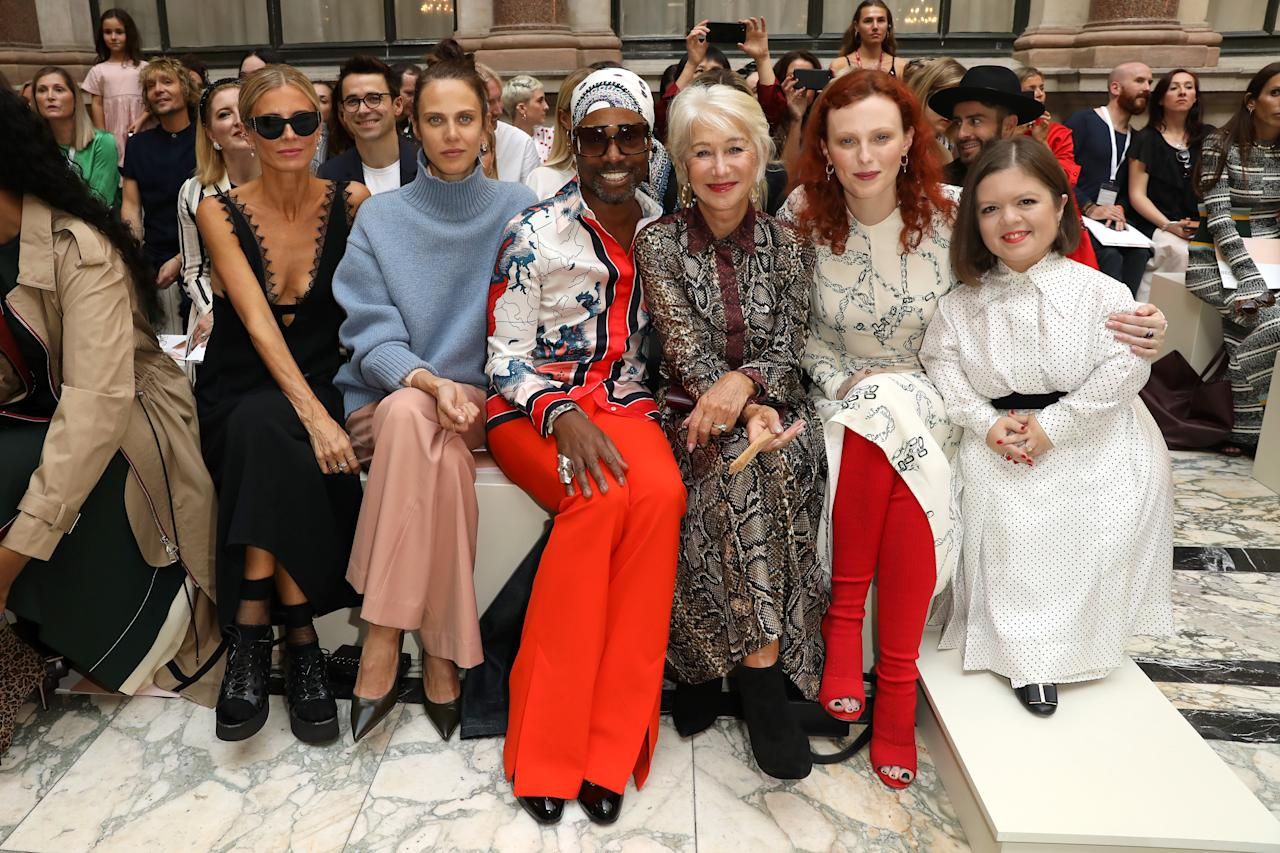 Laura Bailey, Aymeline Valade, Billy Porter, Helen Mirren, Karen Elson and Sinead Burke attend the Victoria Beckham show [Photo: Getty]