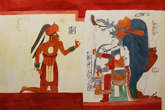 """A man with the title """"junior obsidian"""" kneels before the king in a Maya mural researchers uncovered in Guatemala in 2010."""
