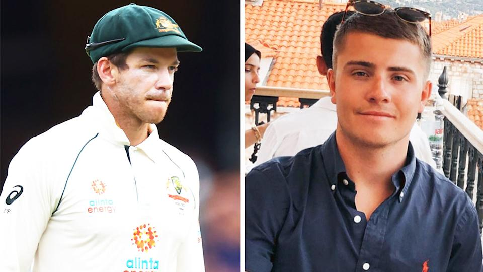 Indian fans accidentally targeted British man Tim Payne (pictured right) on social media instead of Aussie captain Tim Paine (pictured left).