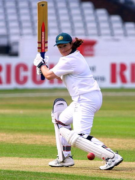 7 Jul 2001:  Karen Rolton of Australia hits out on her way to a half-century against England on day two of the CricInfo Women's Test at Headingley, Leeds.  DIGITAL IMAGE   Mandatory Credit: Mike Finn-Kelcey/ALLSPORT