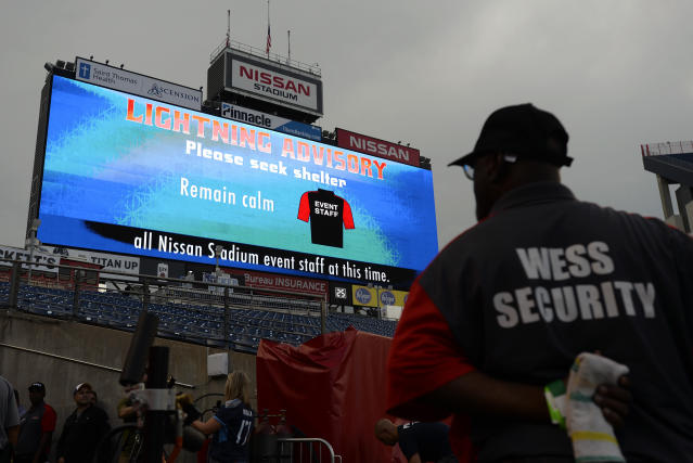 A lightning warning is shown on the scoreboard in Nissan Stadium before a preseason NFL football game between the Tennessee Titans and the Minnesota Vikings Thursday, Aug. 30, 2018, in Nashville, Tenn. (AP Photo/Mark Zaleski)