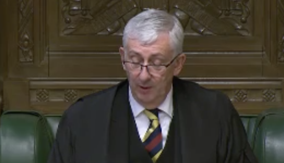 Sir Lindsay Hoyle during his scathing attack on the government on Wednesday. (Parliamentlive.tv)