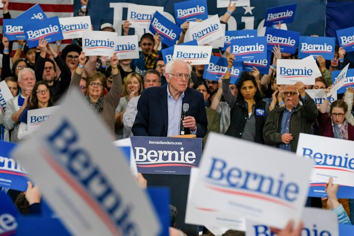 After a strong showing in Iowa, Bernie Sanders campaigns in Milford, N.H. (Preston Ehrler/Echoes Wire/Barcroft Media via Getty Images)