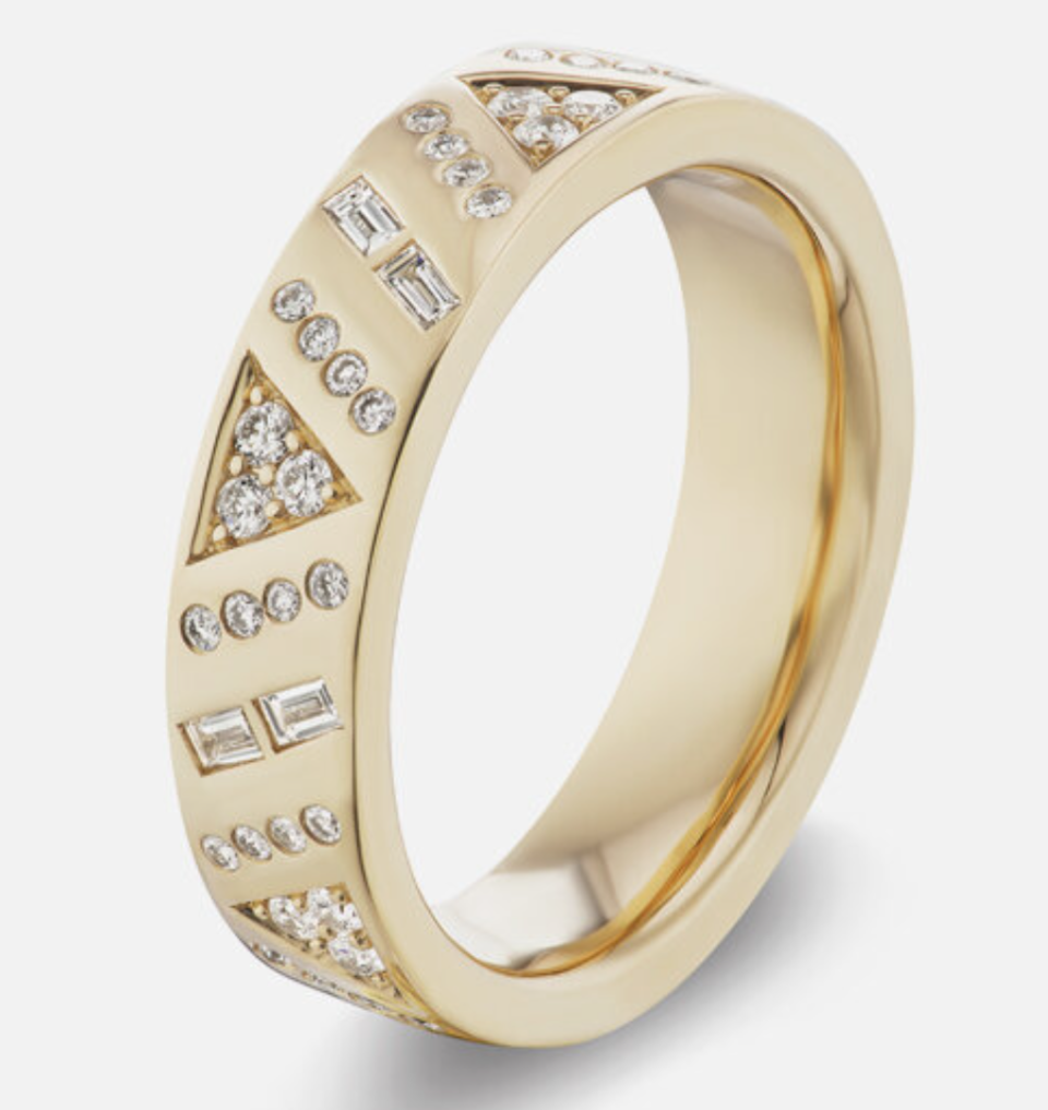 """<p>Harwell Godfrey</p><p><strong>$3950.00</strong></p><p><a href=""""https://www.harwellgodfrey.com/jewelry/stardust-stacking-band"""" rel=""""nofollow noopener"""" target=""""_blank"""" data-ylk=""""slk:Shop Now"""" class=""""link rapid-noclick-resp"""">Shop Now</a></p><p>If you prefer a statement-making diamond band over a solitaire ring, Lauren Harwell Godfrey has the ring for you. For her first diamond collection, the designer set the stones in her signature geometric patterns to create a modern eternity band.</p>"""