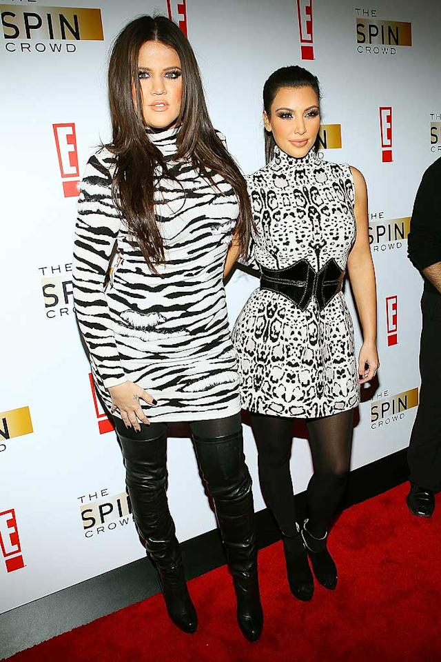 "Khloe and Kim Kardashian looked far from klassy upon arriving at the ""Spin Crowd"" season finale soiree in seizure-inducing ensembles and unnecessary black accessories. Jeffrey Ufberg/<a href=""http://www.wireimage.com"" target=""new"">WireImage.com</a> - October 6, 2010"