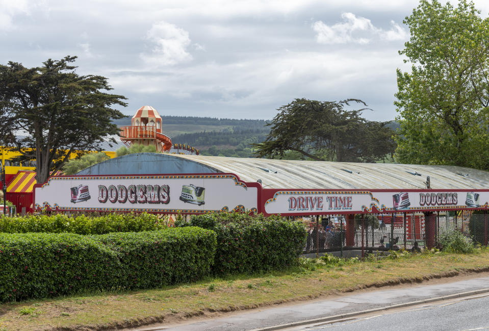Minehead, UK - June 2019: view of dodgems from a public road. This is part of the Butlins complex and is visible from the beachfront promenade.