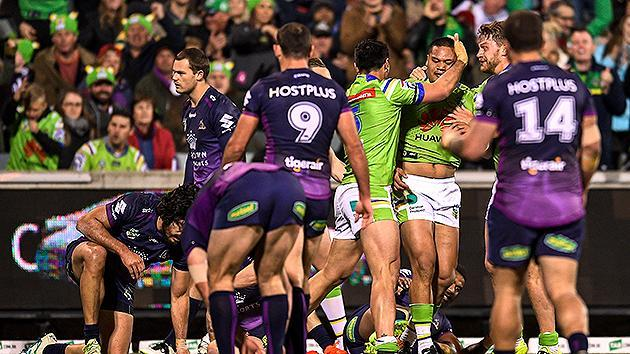 Raiders stun Storm, move to third in NRL