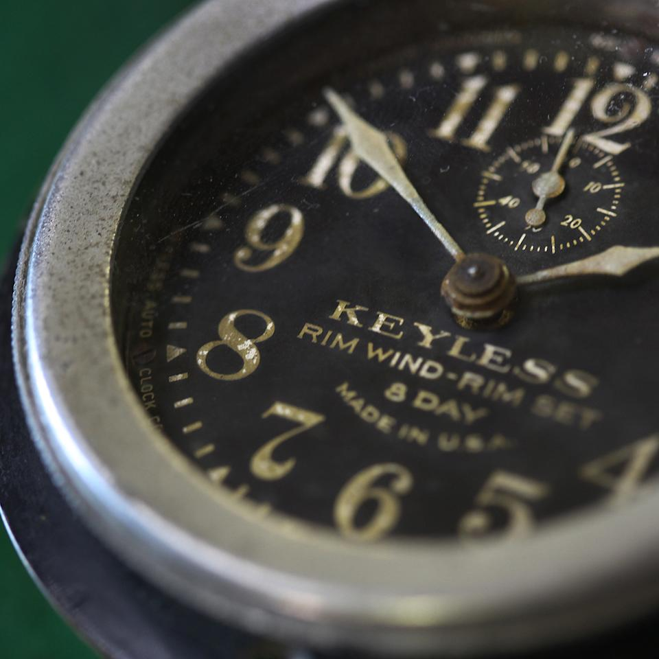 Detail of a clock from a 1912 Duesemberg. Shot at Mike Conroy's Ye Old Watch shop in Portsmouth, Va.