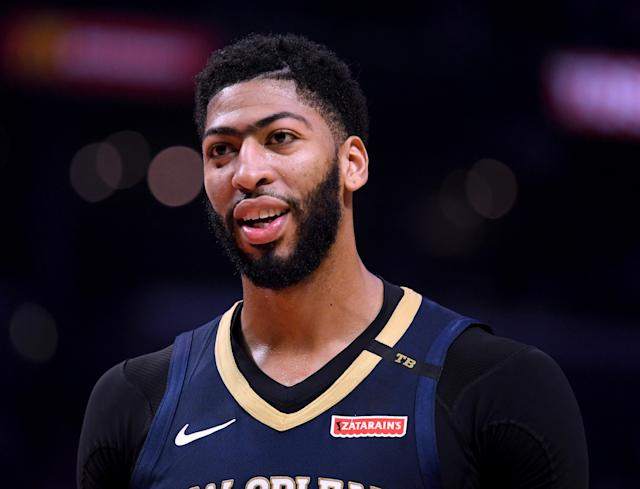 Anthony Davis didn't seem to be bothered by Patrick Beverley's shenanigans. (Getty)