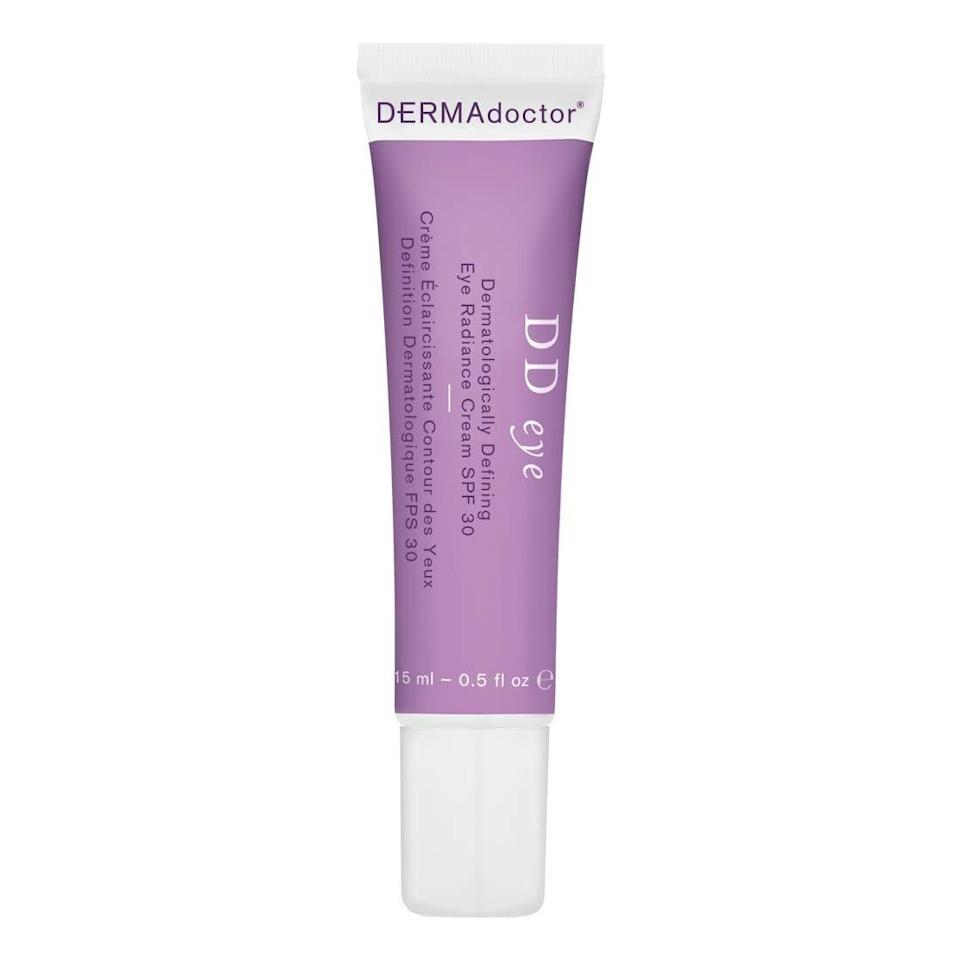 """A combination of titanium dioxide and zinc oxide in the Dermadoctor DD Eye Dermatologically Defining Eye Radiance Cream SPF 30 protects against sun damage. Simultaneously, coconut oil and <a href=""""https://www.allure.com/story/what-is-glycerin-skin-care-ingredient?mbid=synd_yahoo_rss"""" rel=""""nofollow noopener"""" target=""""_blank"""" data-ylk=""""slk:glycerin"""" class=""""link rapid-noclick-resp"""">glycerin</a> moisturize, and stimulating caffeine handles any dark circles you may want to brighten."""