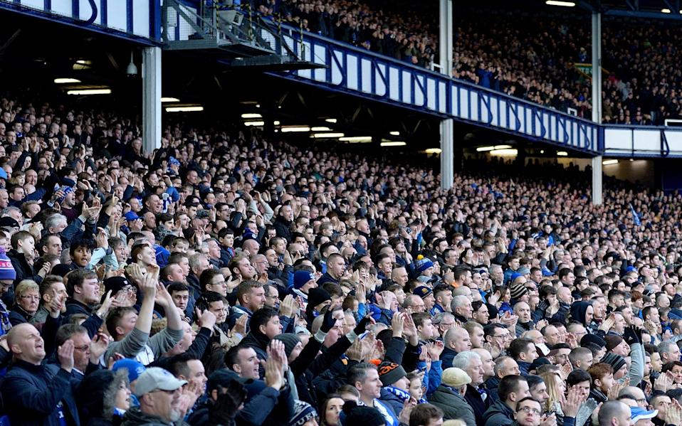 A general view of Goodison Park with Everton fans watching on from the Gwladys Stree Stand during the Barclays Premier League match between Everton and West Ham United - Getty Images