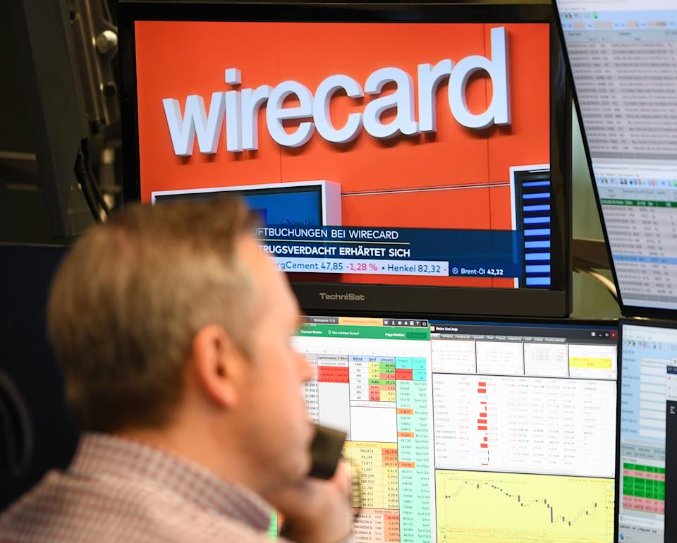 22 June 2020, Hessen, Frankfurt/Main: Wirecard shares plummeted from around 100 euros per share on Thursday to 15.30 euros today, shortly after the opening of the stock market in Frankfurt. Photo: Arne Dedert/dpa (Photo by Arne Dedert/picture alliance via Getty Images)