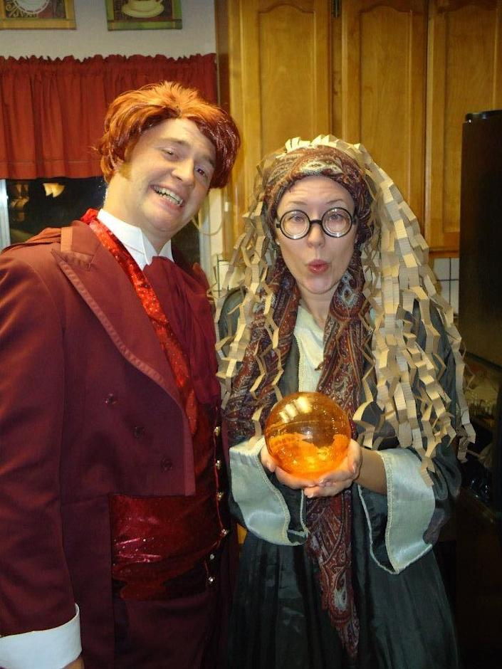 """<p>Who knew Professor Trelawney and Gilderoy Lockhart made such a cute couple?</p><p><strong>Get the tutorial at <a href=""""http://fromdahliastodoxies.blogspot.com/2011/11/harry-potter-and-diy-paper-wig.html"""" rel=""""nofollow noopener"""" target=""""_blank"""" data-ylk=""""slk:From Dahlias to Doxies"""" class=""""link rapid-noclick-resp"""">From Dahlias to Doxies</a>.</strong></p><p><strong><a class=""""link rapid-noclick-resp"""" href=""""https://www.amazon.com/dp/B093YH4QB3/ref=sspa_dk_detail_0?tag=syn-yahoo-20&ascsubtag=%5Bartid%7C10050.g.4616%5Bsrc%7Cyahoo-us"""" rel=""""nofollow noopener"""" target=""""_blank"""" data-ylk=""""slk:SHOP STOCKING HATS"""">SHOP STOCKING HATS</a></strong> </p>"""