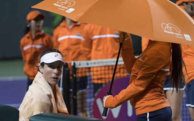 <span>Johanna Konta is protected from the rain</span> <span>Credit: REX FEATURES </span>