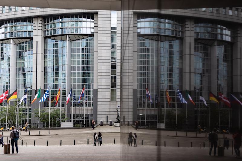 26 May 2019, Belgium, Brüssel: An entrance to the European Parliament is reflected in a glass façade. From 23 May to 26 May, the citizens of 28 EU states will elect a new parliament. Photo: Marcel Kusch/dpa (Photo by Marcel Kusch/picture alliance via Getty Images) (Photo: picture alliance via Getty Images)