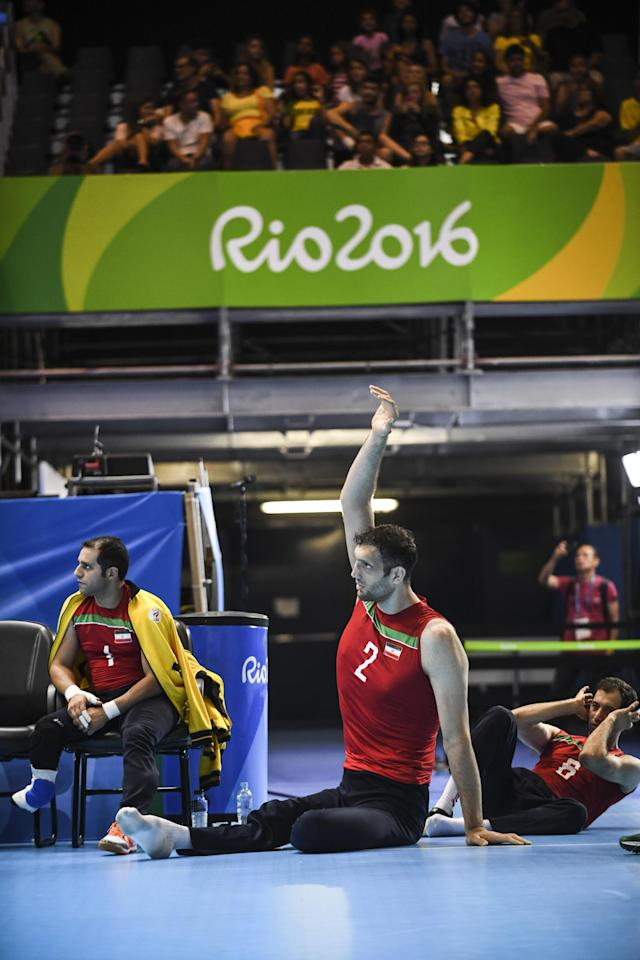 RIO DE JANEIRO, BRAZIL - SEPTEMBER 14: Morteza Mehrzadselakjani of Iran warms up during Mens Sitting Volleyball match between Iran and Ukraine on day 7 of the Rio 2016 Paralympic Games at Riocentro Pavillon 6 on September 14, 2016 in Rio de Janeiro, Brazil. (Photo by Raphael Dias/Getty Images)