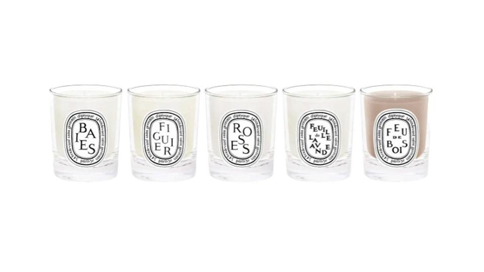 This travel-size set includes five of Diptyque's signature scents.