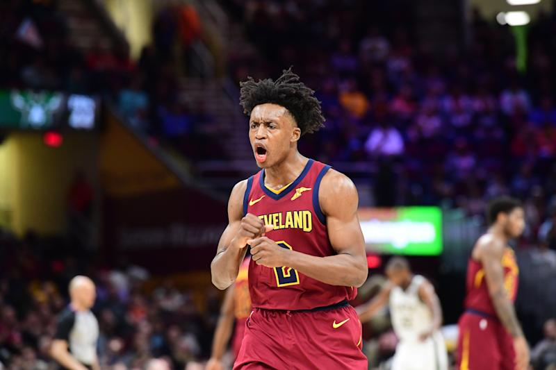 CLEVELAND, OHIO - MARCH 20: Collin Sexton #2 of the Cleveland Cavaliers celebrates after scoring against the Milwaukee Bucks during the second half at Quicken Loans Arena on March 20, 2019 in Cleveland, Ohio. The Cavaliers defeated the Bucks 107-102. NOTE TO USER: User expressly acknowledges and agrees that, by downloading and or using this photograph, User is consenting to the terms and conditions of the Getty Images License Agreement. (Photo by Jason Miller/Getty Images)