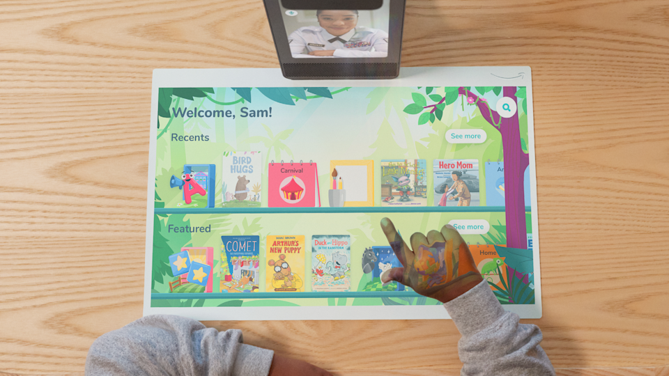 The new Amazon Glow uses interactive projections, so kids can engage in activities with loved ones. - Credit: Courtesy image