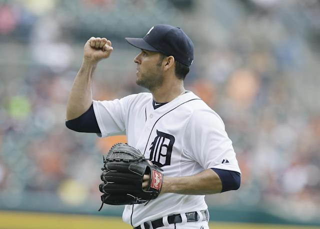 Detroit Tigers starting pitcher Anibal Sanchez reacts after the seventh inning of a baseball game against the Kansas City Royals in Detroit, Thursday, June 19, 2014. Sanchez pitched seven innings, and the Tigers ended Kansas City's 10-game winning streak with a 2-1 victory.(AP Photo/Carlos Osorio)