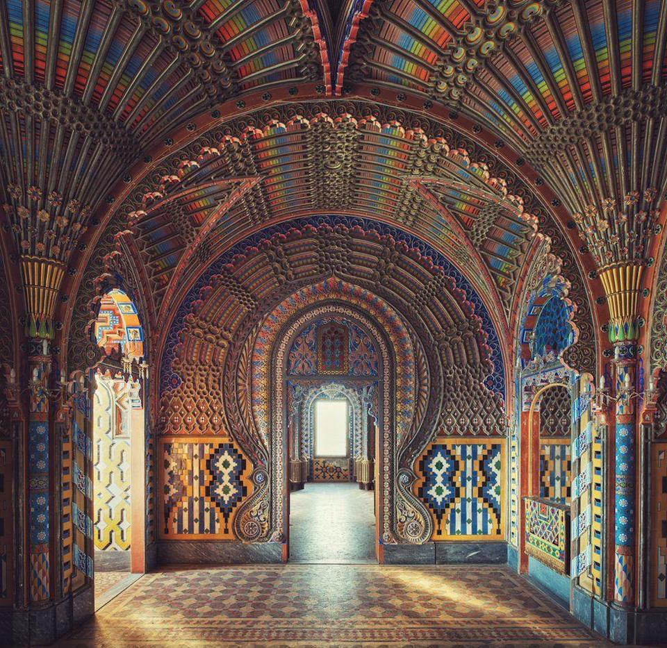 <p>Bright colours and intricate patterns mesh together in the typical Moorish style – but the building is in fact a castle in Italy. (Gina Soden) </p>